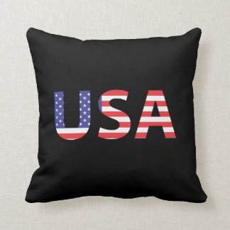 USA Flag Letters Throw Pillow