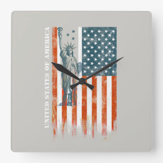 USA Flag Liberty, America, Distressed Art Square Wall Clock