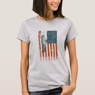 USA Flag Liberty, America, Distressed Art T-Shirt
