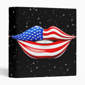 USA Flag Lipstick on Smiling Lips  Binder
