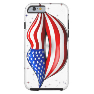 USA Flag Lipstick on Smiling Lips iPhone 6 case