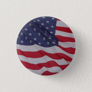 usa flag - long may it wave 1 inch round button
