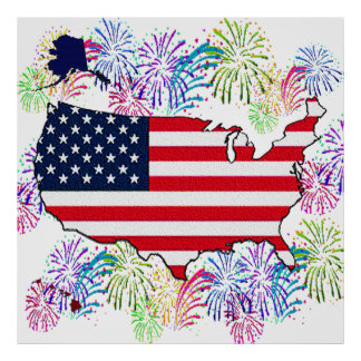 USA Flag Map and Fireworks with Texture Poster