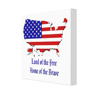 USA Flag Map Wrapped Canvas