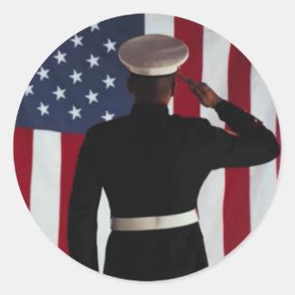 USA FLAG & MARINE WARRIOR CLASSIC ROUND STICKER