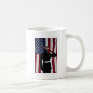 USA FLAG & MARINE WARRIOR COFFEE MUG