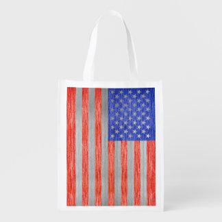 USA FLAG METAL 1 GROCERY BAG
