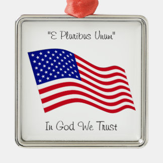 USA Flag Metal Ornament