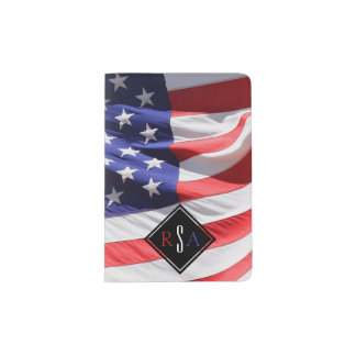 USA Flag | Monogrammed Initials Red White and Blue Passport Holder