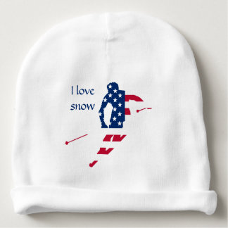 USA Flag of America Skiing American Baby Beanie
