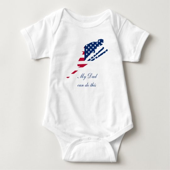 USA Flag of America Skiing American Baby Bodysuit