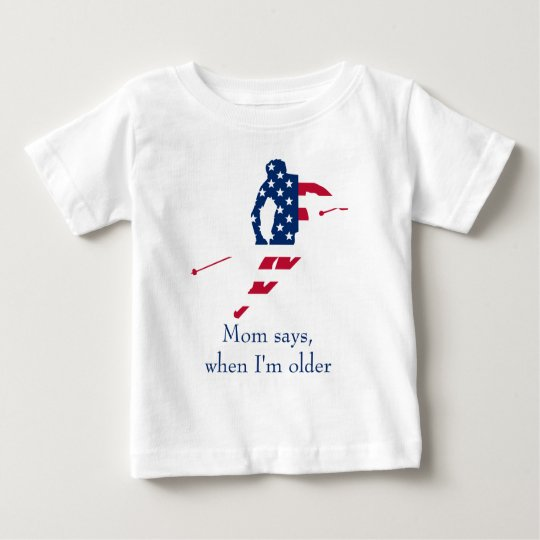 USA Flag of America Skiing American Baby T-Shirt