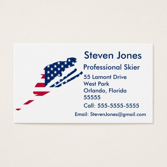 USA Flag of America Skiing American Business Card