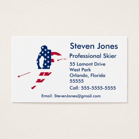 USA Flag of America Skiing American Business Card