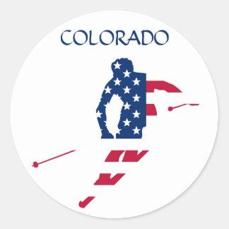 USA Flag of America Skiing American Classic Round Sticker