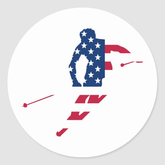 USA Flag of America Skiing American Classic Round Sticker