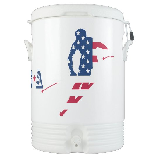 USA Flag of America Skiing American Cooler
