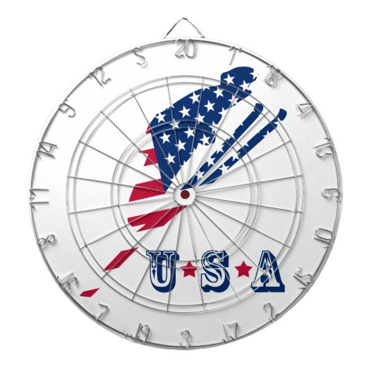 USA Flag of America Skiing American Dartboard