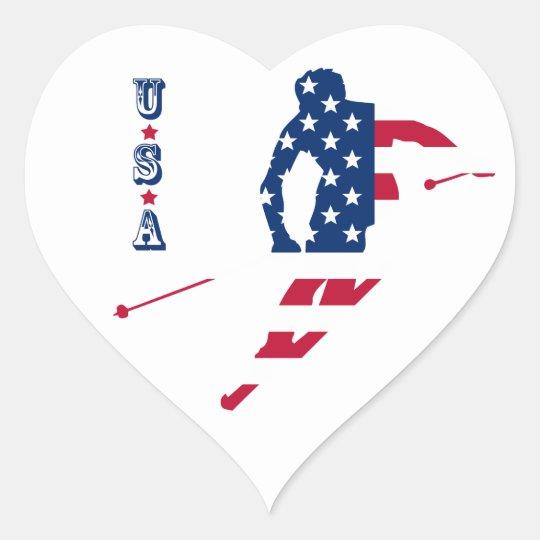 USA Flag of America Skiing American Heart Sticker