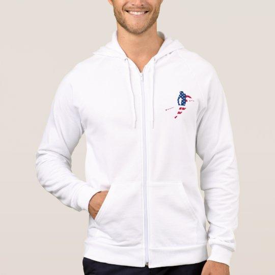USA Flag of America Skiing American Hoodie