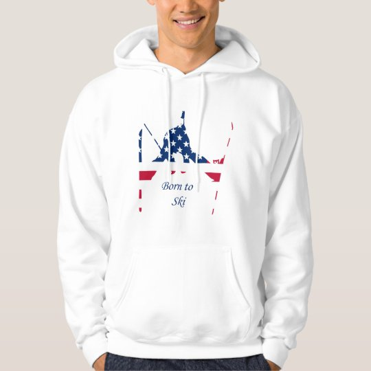 USA Flag of America Skiing American Hoodie