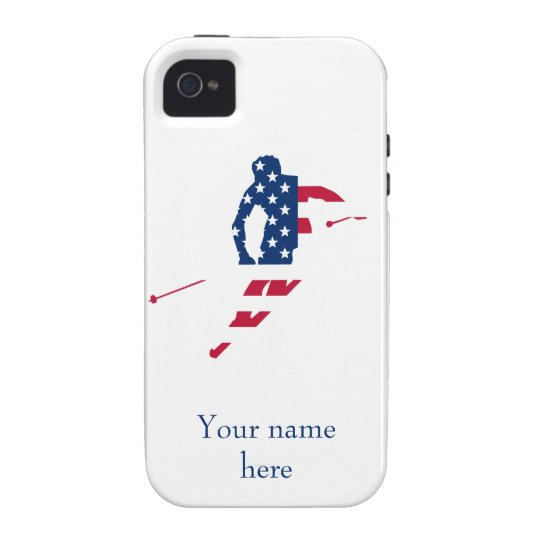 USA Flag of America Skiing American iPhone 4/4S Cases