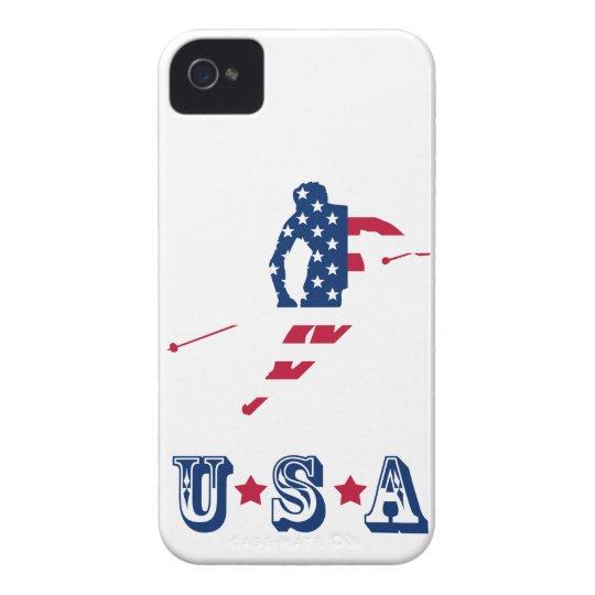 USA Flag of America Skiing American iPhone 4 Case