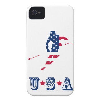 USA Flag of America Skiing American iPhone 4 Case-Mate Cases