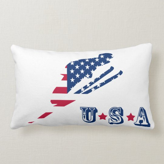USA Flag of America Skiing American Lumbar Pillow