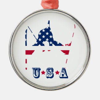 USA Flag of America Skiing American Metal Ornament