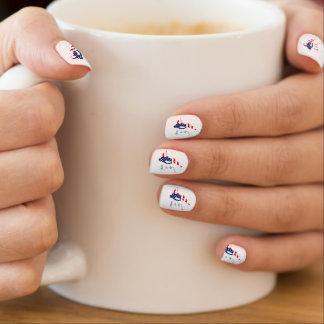 USA Flag of America Skiing American Minx Nail Art