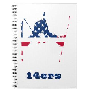 USA Flag of America Skiing American Notebook
