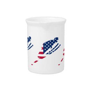 USA Flag of America Skiing American Pitcher