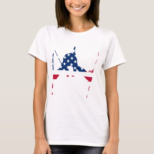 USA Flag of America Skiing American T-Shirt