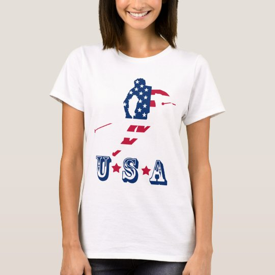 USA Flag of America Skiing American T-Shirt