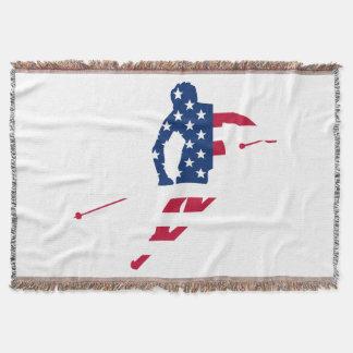 USA Flag of America Skiing American Throw Blanket