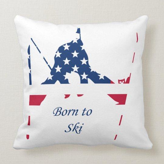USA Flag of America Skiing American Throw Pillow