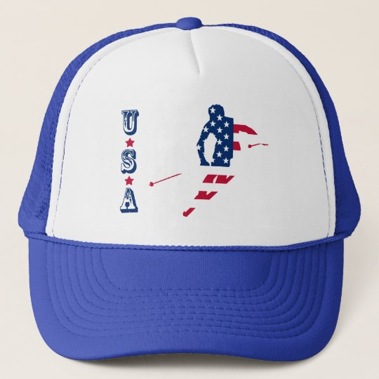 USA Flag of America Skiing American Trucker Hat