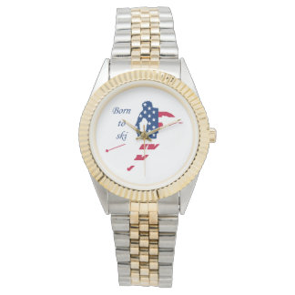 USA Flag of America Skiing American Watch