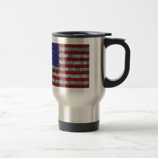 USA flag on steel plate Travel Mug