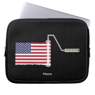 USA Flag Paint Roller Laptop Sleeves