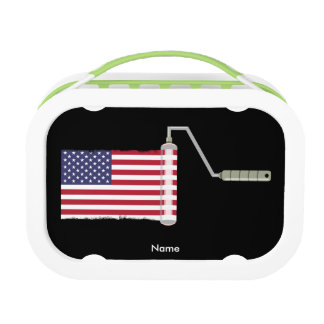 USA Flag Paint Roller Lunch Box