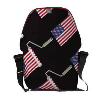 USA Flag Paint Roller Stars and Stripes Messenger Bag
