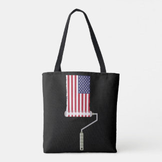 USA Flag Paint Roller Stars and Stripes Tote Bag