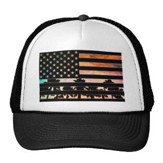 USA Flag Palm Tree Sunset Hat