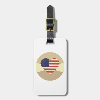 USA Flag Patriotic Heart Vintage Retro Style Cream Bag Tags