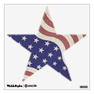 USA flag patriotic rustic weathered Star Wall Decal