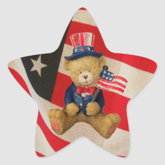 USA Flag Patriotic Teddy Bear Star Sticker
