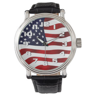 USA Flag Patriotic Watches