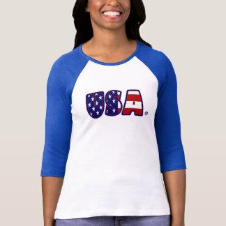 USA Flag Patterned Awesome Lady T-Shirt
